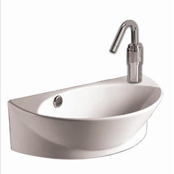 "Whitehaus - Whitehaus Whkn1131 17 3/8"" Isabella Basin - Isabella half-oval wall mount basin with integrated oval bowl, overflow, right offset single faucet hole and center drain"