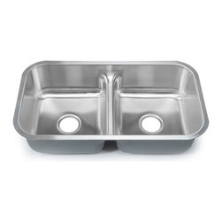 Clark - Clark Stainless Steel Low-divide Equal Double-bowl Kitchen Sink - With elegant corner radii and a lustrous satin finish, the Clark low-divide double-bowl kitchen sink adds a timeless design element to any kitchen decor. This sink comes with industrial grade sound-deadening pads and DripGuard.