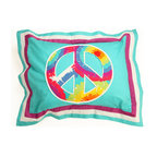 "Terrific Tie Dye - Standard Pillow Sham - Standard flanged sham is designed just like the collections comforters in solid aqua blue and purple fabrics with a peace sign in the center designed in ""Tie Dye"" cotton print fabric.  Back of sham is solid aqua cotton print fabric.  Make your statement in this fun room full of life!"