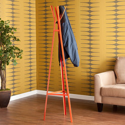 Upton Home - Upton Home Brayden Orange Metal Hall Tree - This whimsical hall tree has a vibrant orange finish to complement its clean,modern lines for a contemporary look. The charming,compact storage solution starts with a triangular metal base that gently tapers up to six hanging hooks.