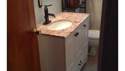 Glacier Bay Stafford 36 in. Vanity in White and Stone Effects with Vanity Top in