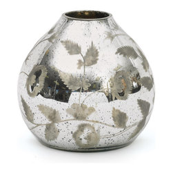 Go Home - Glass Mercury Tulip Vase - Lovely Mercury Tulip Vase perfect size for a delicate spray of spring flowers , crafted from glass and has antiqued etched silver finish,Sure it will enhance the beauty of your home.