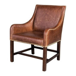 EuroLux Home - New Manchester Leather Accent Chair Aged - Product Details