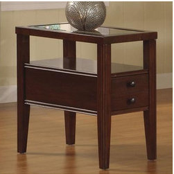 Riverside Furniture - Avenue End Table - Features: -Wood-framed top with beveled-edge glass insert.-One drawer is constructed with dovetail joinery and mounted on a wood-on-wood guide.-Open center storage area with fixed shelf.-Constructed of poplar hardwood solids and cherry veneers.-Dark Cherry finish.-Avenue collection.-Collection: Avenue.-Distressed: No.Dimensions: -Overall Product Weight: 36 lbs.