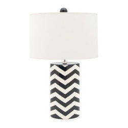 Jill Rosenwald Studio Chevron Oval Lamp - I'm wild for the high contrast of navy and white. Throw in a chevron pattern, a crisp white shade and a round navy finial, and I'm in heaven. Also available in taupe and coral.