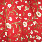 Crewel Fabric World - Crewel Drape Grapes Dreams Exotic Red Cotton - Artisans in a remote mountain village in Kashmir crewel stitch these blossoms, vines and leaves by hand, resulting in a lush pattern of richly shaded wool yarns on Linen, Cotton, Velvet, Silk Organza, Jute. Also backed in natural linen, Cotton, Velvet Silk Organza, Jute with a hidden zipper.