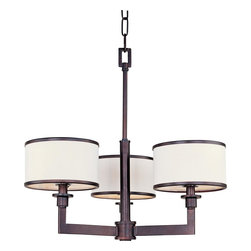Maxim Lighting - Maxim 12054 Nexus 3 Light Chandelier - Oil Rubbed Bronze - A far cry from dangling crystals and gilded scrollwork, the Nexus chandelier defines contemporary lighting. Smooth tubes and broad rectangular arms form sharp right angles to uphold three individual lamps. Crisp, white fabric tautly wraps the substantial drum shades, each smartly trimmed with metal rings for a clean, tailored look.