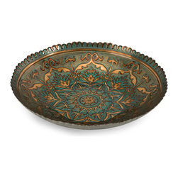 iMax - Ravenna Glass Bowl - Elegant motif and mosaic pattern are reverse painted in peacock blue and gold on the Ravenna glass bowl. Food safe.