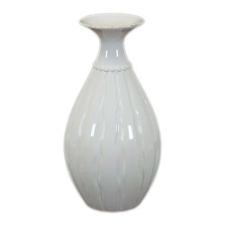 Urban Trend - White Ceramic Flower Pot - This white vase can be used in a variety of decorating themes. The decorative ceramic piece measures 11.5 inches tall,and can be grouped with similar objects on a shelf or mantle for a fun,eclectic look. It could also be used to display faux flowers.
