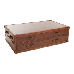 Great Deal Furniture - Lincoln Brown Top Grain Leather Coffee Table Chest - The Lincoln Brown Coffee Table Chest is a unique piece designed for maximum storage with utmost attention to aesthetic appeal. This coffee table doubles as a storage chest with drawers on either side and a third bottom drawer. Upholstered in top grain brown leather with antique nailhead detailing, the quality of this table will make a statement in any room of your home.