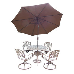 Oakland Living - 7-Pc Cast Aluminum Dining Set - Includes a table, four swivel rockers with cushion, 108 in. tilt crank umbrella with stand and metal hardware. Traditional lattice pattern and scroll work. Handcasted and lightweight. Durable and rust free. Fade, chip and crack resistant. Hardened powder coat. Warranty: One year. Antique bronze finish. Minimal assembly required. Table: 42 in. Dia. x 29 in. H (44 lbs.). Swivel chair: 23 in. W x 17.5 in. D x 38 in. H (33 lbs.)The Oakland Mississippi Collection combines grace style and modern designs giving you a rich addition to any outdoor setting. The pattern is crisp and stylish. Each piece is finished for the highest quality possible. This set is the prefect piece for any outdoor dinner setting. Just the right size for any backyard or patio. We recommend that the products be covered to protect them when not in use. To preserve the beauty and finish of the metal products, we recommend applying an epoxy clear coat once a year. However, because of the nature of iron it will eventually rust when exposed to the elements.