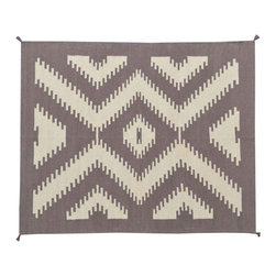 Navajo Design Area Rug, Taupe 5'X7' Hand Woven Flat Weave 100% Wool Rug SH11458 - Soumaks & Kilims are prominent Flat Woven Rugs.  Flat Woven Rugs are made by weaving wool onto a foundation of cotton warps on the loom.  The unique trait about these thin rugs is that they're reversible.  Pillows and Blankets can be made from Soumas & Kilims.