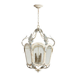 Kathy Kuo Home - Chantilly French Country Parisian Blue White 6 Light Lantern Pendant - Fans of Gustavian style and French Country style lighting, rejoice!  This lovingly distressed six light chandelier delivers all the understated elegance and textural interest to make it a natural choice. With looped arms adding a sense of motion and decorative flourish, this is a classic example of how fun French Country style chandeliers can be.