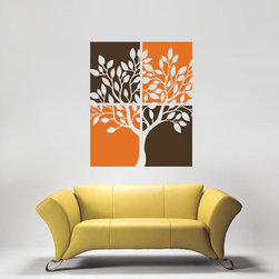 ColorfulHall Co., LTD - Tree Wall Decals Lovely Green Tree Art Decoration, Brown & Orange - Tree Wall Decals Lovely Green Tree Art Decoration