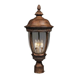"""Maxim - Knob Hill Collection 28"""" High Outdoor Post Light - An intricate trim decorates this European style outdoor post light. The Knob Hill collection of outdoor lighting offers traditional style with European flair. The lines are graceful and curved, and subtle details like a relief trim and acorn finial add drama. This outdoor post light features a sienna finish and seedy glass. From Maxim Lighting."""