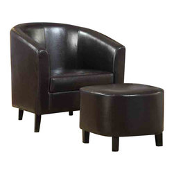 "Adarn Inc - Transitional Black Accent Chair w/ Ottoman Accent Seating - Dress up any living room or bedroom with this barrel back accent chair with ottoman. The dual pieces are wrapped in a dark brown leather-like vinyl. Plus, the soft seat cushion will leave you wanting to snuggle in for hours. Casual, yet, stylish, this chair and ottoman set is sure to make a great addition to your home decor.Accent Chair 29.50""L 28.50""W 29.50""H;Ottoman 18.25""L 16.75""W 15.50""H"