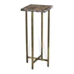 Interlude - Lara Square Drink Table - The Lara Square Drink Table combines chocolate marble with an antique brass finish base.