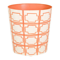 "Worlds Away - Worlds Away Squares Orange Wastebasket - Brimming with preppy polish, this hand painted oval wastebasket by Worlds Away puts the finishing touch on a well designed powder room or office. Its architecturally-inspired pattern in tangerine orange pops against a cream background. 11""W x 9.5""D x 12""H. Metal body with hand painted finish."