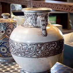 De-cor Accents - Hand painted & glazed  Moroccan Vase