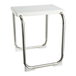 Taymor - Shower Bench, Polished Stainless Steel White Seat - Sturdy shower bench for any showers, including walk-ins.