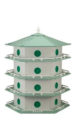 Heath - Aluminum 24 Room - 24 Room Aluminum Purple Martin House. Constructed of Rust-Free Heat Dispensing Aluminum. Smart Hexagonal Design Creating Artistry and Function. Easy to Clean Floors snap out for easy access. Comes complete with railings and door stops. Assemble with Screw