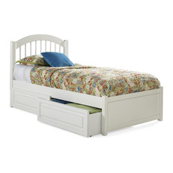 Atlantic Furniture - Windsor Platform Bed w Flat Panel Footboard in White Finish (Queen) - Choose Bed Size: Queen. Includes Windsor headboard, flat panel footboard, long rails and 14 pieces slat kit. Optional underbed raised panel drawers not included. Adjustable height design allows for use with or without a box spring. Features an arch and spindle design built. Solid hardwood construction with engineered hardwood bed slats. Trundle only fits twin or full size beds. Twin: 79.75 in. L x 42.5 in. W x 42.63 in. H. Full: 79.75 in. L x 56.75 in. W x 47.25 in. H. Queen: 85.25 in. L x 63.5 in. W x 47.25 in. H. King: 85.25 in. L x 79.75 in. W x 47.25 in. H. Optional raised panel drawers:. Twin/Full (2 drawers): 74 in. L x 24.38 in. W x 12 in. H. Queen/King (4 drawers): 79.5 in. L x 24.38 in. W x 12 in. H. Optional twin or full raised panel trundle: 74.75 in. L x 40.38 in. W x 11.63 in. H