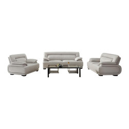 VIG Furniture - 3929 Grey Top Grain Leather Three Piece Sofa Set - The 3929 sofa set will add a modern touch to any decor while having you relax in comfort. This sofa set comes upholstered in a beautiful light grey top grain leather in the front where your body touches. Carefully chosen match material is used on the back and sides where contact is minimal. High density foam is placed within the cushions for added comfort. Attached to the bottom of each piece are brown finished wooden legs. The sofa set includes one sofa, loveseat, and chair only.