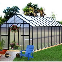 Riverstone Industries Monticello 8 x 20 ft. Premium Greenhouse Kit - With so much research coming out about the financial and dietary benefits of consuming locally grown food the Riverstone Industries Monticello 8 x 20 ft. Premium Greenhouse Kit makes sense now more than ever. After all there's nothing more local than your own backyard. This large greenhouse allows you to start a substantial crop early and even produce year round so you won't have to settle for overpriced or chemically sprayed produce or flowers trucked in from states away. Good growing requires safe sustainable ways to extend the growing season and the commercial-grade materials of this greenhouse allow you to do just that. The Monticello Greenhouse by Riverstone Industries uses the highest-quality extruded aluminum available - over 85 lbs. more than an average imported greenhouse of this size Furthermore it uses high-impact UV-stable 8mm twin wall polycarbonate for the walls and roof whereas most other greenhouses on the market use less expensive materials that they shave down as thin as .2mm. These extra measures of strength pay off by securing your greenhouse and all its precious contents from snow loads up to 24 pounds per square foot and from gusts of wind up to 113 miles per hour making this far stronger than the average greenhouse. In addition to this obvious ability to hold up under strenuous natural conditions these high-quality materials also make the greenhouse's growing potential more efficient stretching the natural season longer and cutting down on electric bills for those looking to grow year round. As if top-quality materials weren't enough Riverstone Industries has also equipped this premium package with a slew of features to help you make the most of your horticultural efforts. This greenhouse's workbench and sink - the only one found in the industry - will help you plan out your plantings and minimize your work time and effort. Its unique interior shade system will help you prevent sun scorching on more sensitive leaves and flowers while the automatic roof vents will enable you to keep a good temperature and airflow. This greenhouse even comes equipped with gutters as part of its automatic watering system to help make the most of the elements that nature already provides. Even with all these features and commercial stability Riverstone has made sure to keep assembly simple so that even an inexperienced builder can put this greenhouse together in less than a day allowing you to jump right into your planting and production which is the reason you bought it in the first place. Additional features: Features work bench system Integrated flush-base design High-impact UV stable 8 mm twin polycarbonate walls and roof Heavy-duty extruded aluminum frame Four 2 x 2-ft. roof vents with automatic openers Integrated dual rain water gutter system Peak height: 90 inches Sidewall height: 58 inches Door dimensions: 48W x 68H in. Swing open entry doors with locking ability Expandable in 4-ft. increments as needed (extensions sold separately) Efficient - average annual cost for year round operation is $175-$225 Snow load capacity: 24lbs./sq. ft. Wind load capacity: 52m/sec. (113 mph gusts) Assembly time of approximately 12 hours Proudly made in the United States About Riverstone IndustriesRiverstone Industries prides itself on producing high-quality environmentally and economically conscientious products for the masses. They believe that their green product lines will enable everyone to help forge a brighter future for themselves and their world. By creating merchandise that is easy to assemble backed by confident warranties and supported by top-notch customer service they have built and maintained outstanding quality that has resulted in customer satisfaction. Over the years Riverstone Industries has also made a conscious effort to move its design and manufacturing programs to the United States helping secure domestic jobs and a stronger economic environment.