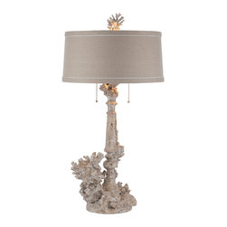 Kathy Kuo Home - Pair Rustic Chic Coral French Country Table Lamp - One of our absolute favorites, we have blended a traditional candlestick with large pieces of coral and sea life. Top it with a round slim line dark linen shade and you have the ultimate architectural beach house lamp.  Price marked is for a pair.
