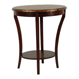 Safavieh - Safavieh Harrison Beidermeir 22 Inch Round Side Table in Brown & Gold Flake - The style is inimitable. The slender, shapely legs of the Harrison Biedermeier Table are instantly recognized by aesthetes everywhere. Crafted with 100% birch wood, it's a classic piece at home in soft modern and traditional surrounds. What's included: Side Table (1).