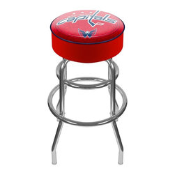 Trademark Global - Bar Stool w Padded Seat & NHL Washington Capi - Enjoy the game in supreme comfort and sleek retro style! NHL licensed Washington Capitals backless bar stool has curved steel legs and chrome finish. Round padded seat has official team logo and comfortable vinyl upholstery. Great for casual fans and fanatics alike! Adjustable levelers. Long lasting officially licensed NHL team logo. Great for gifts and recreation decor. 7.50 in. High padded seat. 30 in. High bar stool great for bar pub table and bars. Commercial grade vinyl seat. Chrome plated double rung base. 14.75 in. W x 14.75 in. D x 30 in. H (17 lbs.)This National Hockey League Bar Stool will be the highlight of your bar and game room.