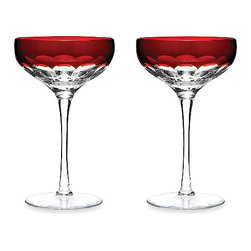 Waterford - Waterford Mixology Talon Red Coupe (Set Of 2) - The Waterford Mixology Talon Red Coupe is fresh and modern and will elevate the style of your next gathering.