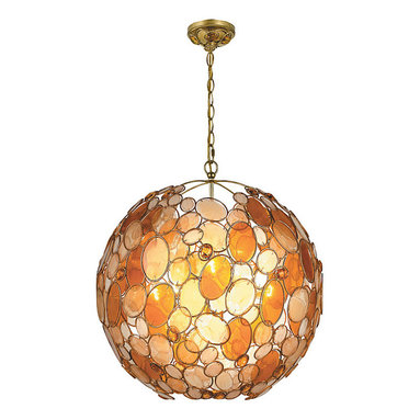 Palla Pendant by Crystorama - Palla pendant is available in two sizes in Antique Silver with clear crystal and white Capiz shell shade or Antique Gold Leaf Wrought Iron finish with amber crystal and Capiz shell shade. Palla family also includes pendant, chandelier, flush mount, bath bar, and wall sconce versions. Small size is 13 inches wide x 14 inches high and requires one 100 watt 120 volt A19 incandescent lamp not included. Large size is 22 inches wide x 23 inches high and requires six 60 watt 120 volt A19 incandescent lamps. Both sizes include 72 inches of chain.