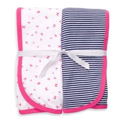Carter's - Carter's Pink & Navy 2-Pack Swaddle Blankets - Snuggle your little one in this soft and adorable 1x1 rib blankets. Soft against your child's skin, these blankets come with how-to swaddle instructions and match with coordinating Carter's apparel.
