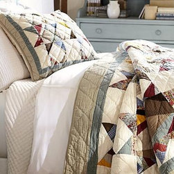 Multi-Star Patchwork Voile Quilted Sham, Standard, Multicolor - Feauturing stars crafted from a variety of fabrics, our Multi Star Patchwork is meticulously hand quilted just as the classic American quilt is that inspired it. Made of cotton/linen blend. Pure cotton batting. Hand quilted. Quilt and sham reverse to pure cotton in ecru. Sham has an envelope closure. Quilt, sham and insert sold separately. Machine wash. Catalog and Internet only. Imported.
