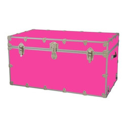 Rhino - Toy Trunk - Neon Pink (Large) - Choose Size: LargeWheels are not included. Includes two nickel plated steel universal wheel adapter plates. Wheel adapter plates mounted on side of the trunk. American craftsmanship. Several obscure ventilation holes to provide plenty of air should your child ever go into the trunk and have someone close it on them. Strong hand-crafted construction using both old world trunk making skills and advanced aviation rivet technology. Steel aircraft rivets are used to ensure durability. Heavy duty proprietary nickel plated steel latches and hardware. Heavy duty nickel plated steel lid hinges plus lid stays for keeping lid propped open. Tight fitting steel tongue and groove lid to base closure to keep out moisture, dirt, insects, odors etc.. Stylish lockable nickel plated steel trunk lock has loop for attaching padlock. Discrete ventilation holes. Special soft-close lid stay. Nylon cordura exterior laminate. Lifetime warranty. Made from 0.38 in. premium grade baltic birch hardwood plywood with nickel-plated steel hardware. Large: 32 in. W x 18 in. D x 14 in. H (29 lbs.). Extra large: 36 in. W x 18 in. D x 18 in. H (36 lbs.). Jumbo: 40 in. W x 22 in. D x 20 in. H (67 lbs.). Super jumbo: 44 in. W x 24 in. D x 22 in. H (69 lbs.)Safety First! A superior quality, heavy-duty toy trunk that¢s designed for a child¢s well-being, yet looks handsome in any room. Toy Trunk is constructed from the highest quality components. This treasure chest incorporates several safety features to insure that it¢s child friendly. Those include small ventilation holes should a child ever decide to climb in and take a nap, as well as specially designed, American made soft-close lid stays. The lid stays keep the lid from slamming shut. In fact, the lid will only close if you push it down. This will keep small hands protected. Also, the toy trunk will not lock on its own. Toy Trunk are conveniently sized and ruggedly built. They¢re strong enough to stand on! Best of all, these advanced design wheels do not add any extra height to the trunk. Even with the wheels on, the trunk is stackable.