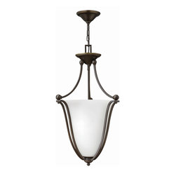 Hinkley Lighting - Hinkley Lighting 4663OB-OPAL Bolla 3 Light Foyer Pendants in Olde Bronze - The graceful lines of Bollas sweeping double arms create a soft elegance, while heavy cast spheres perched at the tips add to its innovative style. The strong proportions of the arms  contrast with the subtle bell shaped glass, combining both traditional and modern details.