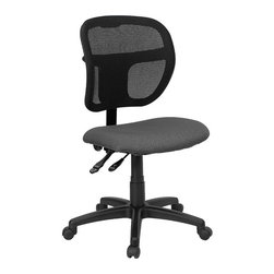 Flash Furniture - Flash Furniture Mid-Back Mesh Task Chair with Gray Fabric Seat - Flash Furniture - Office Chairs - WLA7671SYGGYGG - Upgrade your standard mesh office chair with this multi-functional version. When you need more adjusting capabilities than your standard office mesh chair this will exceed your expectations. The breathable mesh back keeps you cool when sitting for long periods of time. The firm comfortably padded seat will keep you at ease during work or while leisurely browsing. Whatever your need this chair will perform for you! [WL-A7671SYG-GY-GG]
