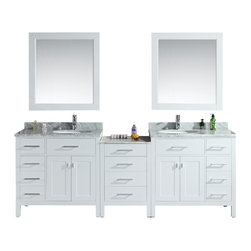 "Design Elements - Design Elements DEC076D-W-92 Vanity in White - The London 92"" Double Sink Vanity Set is constructed with solid wood and provides a contemporary design perfect for any bathroom remodel. The ample storage in this 3-piece free-standing vanity set includes two flip-down shelves located underneath each sink, four large and eight smaller fully functional drawers and two double door cabinets each accented with brushed nickel hardware. The cabinet is available in an espresso or white finish and the set is complete with carrara white marble counter tops and two matching framed mirrors."