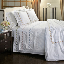 None - Scroll Embroidery 300 Thread Count Cotton Percale Sheet Set - These deluxe cotton percale sheets offer comfort without skimping on style. Luxurious and attractive,the sheet set features an elasticized fitted sheet for a smooth fit. The classy embroidered details stand out against the solid base.
