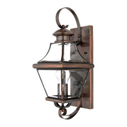 Quoizel Lighting - Quoizel CAR8728AC Carleton 1 Light Outdoor Wall Light, Aged Copper - Long Description: The historical design of the Carleton outdoor fixture will bring a handsome colonial appeal to your home. The antique style solid copper, square tapered frame with a curved top eloquently displays the clear beveled glass, adding an elegant touch to the light.