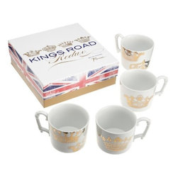 Rosanna - Kings Road Redux Mugs- Set of 4, By Rosanna - Celebrate the 'high holidays' in style with this Rosanna classic brought back to life. Mixing modern forms with Baroque embellishments, King's Road Redux takes an inventive approach to tableware, while still retaining its majesty