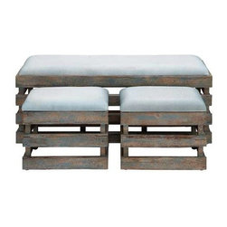 """Benzara - Long Lasting Wood Leather Stool - Set of 3 - Long Lasting wood leather stool - set of 3. Elegantly designed, this wood leather stool deserves a special place in your home. It comes with a following dimensions 44""""W x 17""""D x 16""""H. 17""""W x 13""""D x 15""""H. 17""""W x 13""""D x 15""""H."""