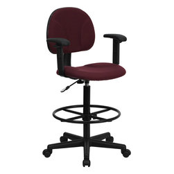Flash Furniture - Flash Furniture Burgundy Fabric Ergonomic Drafting Stool with Arms - Drafting Stools can be used in a multitude of environments including School, Work and for the Home. Not only is this chair great for drafting and regular office assignments it is also useful for people with disabilities who need a higher chair. Drafting stools make it easier for the user when they need or prefer more height to comfortably get in and out of chairs. This chair will satisfy your needs at an affordable price that can't compare!