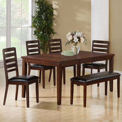 "Monarch Specialties - Monarch Specialties 6 Piece 66x38 Rectangular Dining Room Set w/ Bench in Dark E - This dining table offers rich design and transitional styling that invites a relaxed setting in your home. The dark espresso birch finish, 18"" extendible leaf and two toned brown design make this perfect for an intimate dinner with family or for casual get-togethers. Constructed from solid hardwoods and wood veneers this dining table is quality built and will provide years of lasting enjoyment."