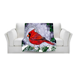 DiaNoche Designs - Throw Blanket Fleece - Rachel Brown Cosmo Cardinal - Original Artwork printed to an ultra soft fleece Blanket for a unique look and feel of your living room couch or bedroom space.  DiaNoche Designs uses images from artists all over the world to create Illuminated art, Canvas Art, Sheets, Pillows, Duvets, Blankets and many other items that you can print to.  Every purchase supports an artist!