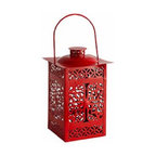 Red Metal Lantern - Whether your screened-in porch needs a little more glow or your dining table needs a bit of Chinoiserie, this intricate red lantern is an inexpensive way to add big style.