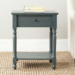 Safavieh - Safavieh Tami Dark Teal Night Stand - Brimming with vintage style, the Tami night stand will complement every setting from coastal cottage to prairie farmhouse. With turned spindle legs, handy shelf and storage drawer, this is crafted of pine