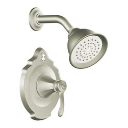 """Moen - Moen T2502EPBN Brushed Nickel Shower Valve Trim, 1-Handle 1-Function Cartridge - Moen T2502EPBN is part of the VESTIGE bath collection. Moen T2502EPBN is a new bathroom decor style by Moen. Moen T2502EPBN has a Brushed Nickel finish. Moen T2502EPBN Posi-Temp Shower valve only trim fits any MPact common valve system or MPact Posi-Temp 1/2"""" valve available separately. Moen T2502EPBN is part of the Vestige bath collection with its richly detailed lines featuring nostalgic designs and accents that complement traditional decor for today's homes. Moen T2502EPBN Shower valve trim includes single-function pressure balancing Cartridge. Back to back capability. Moen T2502EPBN is a single handle shower valve trim only, the handle adjusts temperature. Moen T2502EPBN valve only single handle trim provides for ease of operation. Moen T2502EPBN Posi-Temp pressure balancing valve maintains water pressure and controls temperature. Moen T2502EPBN includes eco-performance Moenfl"""" xL single function showerhead 1.75 GPM max. Moen T2502EPBN is ADA approved. Brushed Nickel has a Lifeshine finish guarantee from Moen and provides style and durability. Moen T2502EPBN metal lever handle meets all requirements ofADA ICC/ANSI A117.1 and CSA to meet CSA B-125, ASME A112.18.1 M. Lifetime Limited Warranty."""