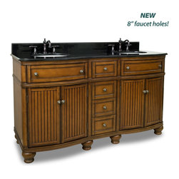 "Hardware Resources - Elements Bathroom Vanity - Compton Walnut 60"" Double Vanity with Preassembled Top and Bowl by Bath Elements This 60"" wide MDF double vanity has simple beadboard doors and curved shape to accent the traditional cottage feel. The Walnut finish is created by hand, making each vanity unique. Two large cabinets, fully functional top drawers fitted around plumbing, and a center bank of drawers, equipped with ball bearing slides, provide ample storage. This vanity has a 2CM black granite top preassembled with two H8809WH (15"" x 12"") bowls, cut for 8"" faucet spread, and corresponding 2CM x 4"" tall backsplash. - Vanity: 60-1/2"" x 23"" x 35"" (with top),Style: Traditional,Finish: Walnut,Materials: MDF,Top: 2CM black granite with 2CM x 4"" tall backsplash,Bowl: H8809WH (2),Coordinating Mirror: MIR029D-60,Faucet must be purchased separately"